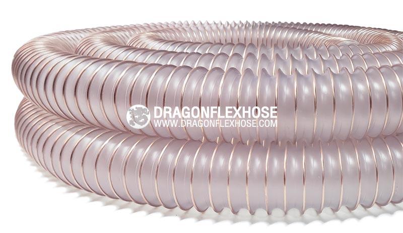 ท่อเฟล็กซ์อ่อนโพลียูรีเทน ไส้ลวดสปริง D-PUH (ความหนา 0.7mm./1.2mm.) 100% Polyurethane wall
