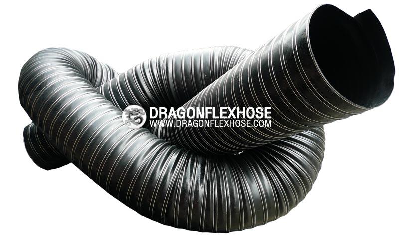 ท่ออ่อนผ้าใบ 2 ชั้น เคลือบยางนีโอพรีน สีดำ โครงลวดปริง